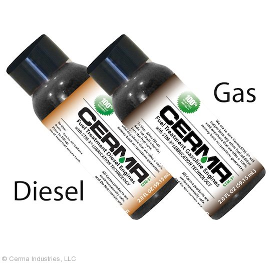 Cerma Fuel Treatment Label Instructions Containers