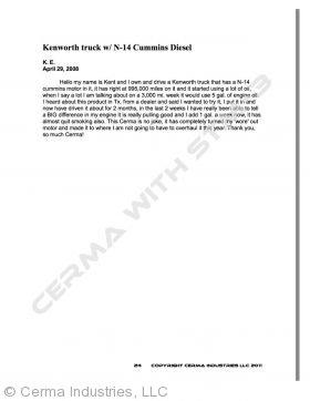 Testimonial - Kentworth Truck (N-14 Cummins Diesel)